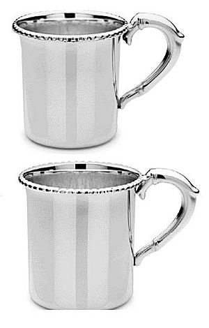 Cunill Baby Cup 021258 - Sterling silver baby cup comes in 2 sizes.  Includes 2 lines of engraving