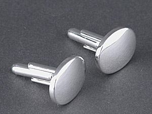 Oval Cufflinks CG02600 - Plated Oval Cuff-links, choose gold plated or silver plated