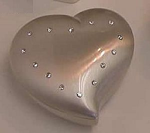 Heart Box with Chrystals CG003906 - Perfect ring keeper for a wedding or an engagement ring, this jewelry box is approx. 2 3/8 in.