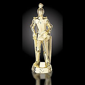 Knight Trophy - Rescuer / Courage Trophy - RS25821 - Goldtone knight metal figure mounted on base.