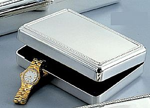 CG027103 - Jewelry Box, velvet lined, nickel plated.