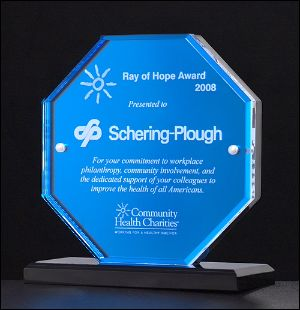 "Acrylic Award 6700* - Octagon series featuring blue mirror upright and base with clear acrylic front 5/8"" thick clear acrylic"