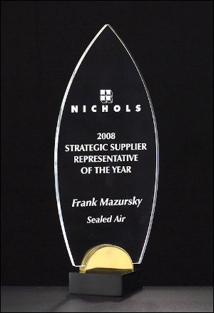 "Acrylic Award A6810 - Flame series clear acrylic on black and gold metal base 3/8"" thick clear acrylic"