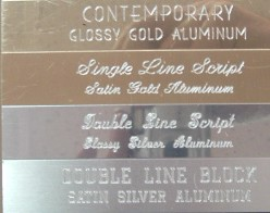 Aluminum Metal Plate Small - 4 color Aluminum: choose brushed or glossy gold, brushed or glossy silver