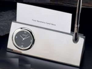 Silver Card Holder Set - BB14 - Engraveable Silver card holder that has a clock and comes with a pen