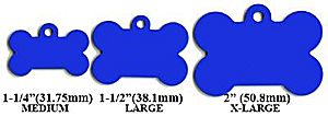 Bone Shaped Dog Tag Free Engraving - Different colors available, including blue and silver - One Line Free Engraving