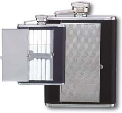 Flask F167 - 6 oz Stainless Steel Cube Designed Flask with Cigarette Compartment