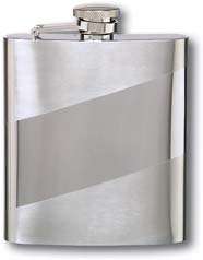 Flask F181 - 6 oz. Stainless Steel Flask with Diagonal Band and Tu-Tone Finish