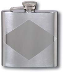 Flask F182 - 6 oz Stainless Steel Diamond Design Flask with Tu-Tone Finish
