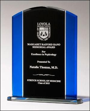 Blue Glass Award G2657 - Clear glass with blue and black silk screened upright,black screened base with felt bottom