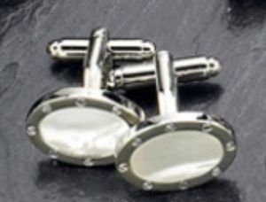 Oval Rhodium Plated Cufflings  - BB12 - Engraveable Oval Cufflings Plated w/ Rhodium, has Mother Of Pearl Center