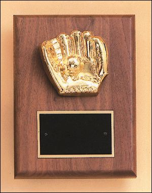base ball glove plaque - Solid American Walnut wood plaque with metal glove, engravable brass.