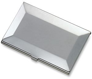Business Card Case RO-CC66B - Silvertone Beveled Edge Business Card Case