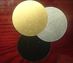 Circular Metal Plate Engraved - Brass circular engraving metal disk comes in 3 tones: gold, silver or black