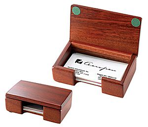 Business Card Holder - RO-DT46 - Rosewood Desktop Card Holder with Cover.  Choice of engraved plate.