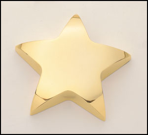 T107CG03052 - Star Paperweight 4X4 choose silver or gold