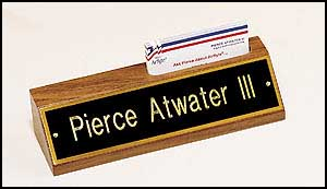 535 - Desk wedge and business card holder.  Black plate gold lettering