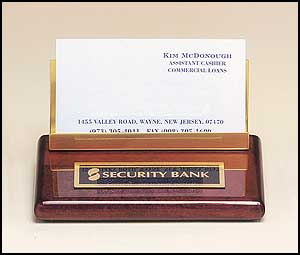 542 - Rosewood piano-finish business cardholder with brass accents