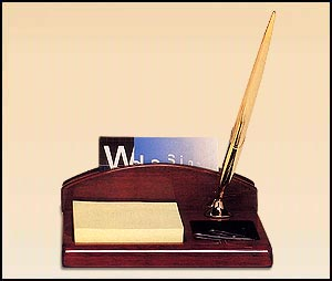 543 - Rosewood piano-finish desk organizer incl. business card holder, pen and notepad
