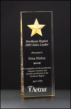 "Acrylic Award A6595 - Constellation series - etched star with gold paint-fill and mirrored bottom, clear acrylic tapered from 1-1/8"" to 7/16"""