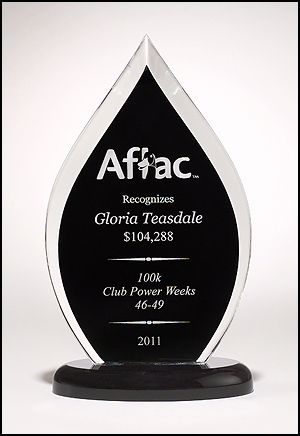 "Acrylic Award A6820 - Flame Series clear acrylic award with black silk screened back 3/4"" thick clear acrylic"
