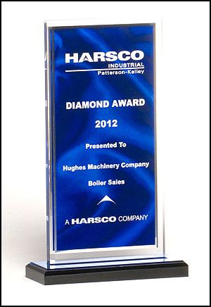 Acrylic Award A6865 - Dark blue draped satin pattern with silver mirror border