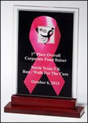 "Acrylic Award 6945 - Breast Cancer Awareness Pink ribbon against a black background with silver mirror border 3/8"" thick clear acrylic"