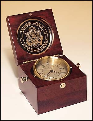 bc73 - Captain's Clock, hand rubbed, mahogany-finish case, solid brass clock housing