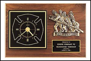 BC96 - Firematic award with antique bronze finish casting and clock.