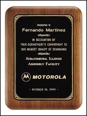 p161 - walnut plaque, black brass plate with printed border.  This plaque comes in 6 sizes: choose 5 X 7 or bigger.