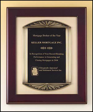4139 - Rosewood stained piano-finish frame, antique bronze finish frame casting with brush gold metal background.
