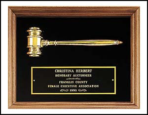 gavel plaque pg2440 - Metal Gavel, gold electroplate in American walnut plaque. 10 X 13 in.