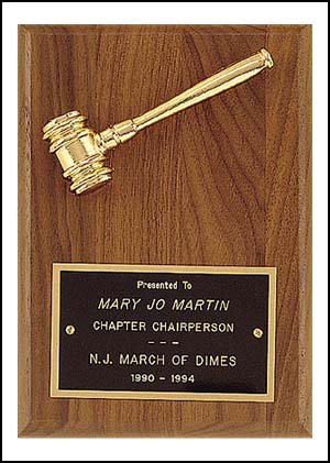 Gavel Plaque pg2780 - Metal Gavel, Goldtone, 5X7 in board.  Perfect gift for a newly appointed judge!