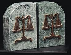 legal bookends - BB-R10L - Scale of Justice bookends: Genuine marble & brass.  Engraving optional.