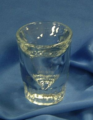 shot glass - shot glass is almost 3 in. H.